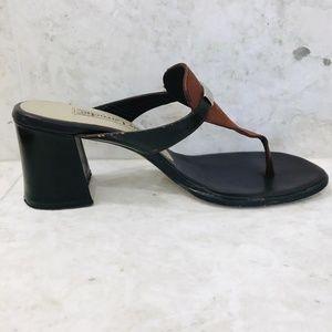 GUY LAROCHE {37} Thong Sandal Brown Black Vintage